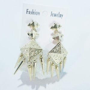 Jewelry - Statement Earrings Dangle Gold Spiked